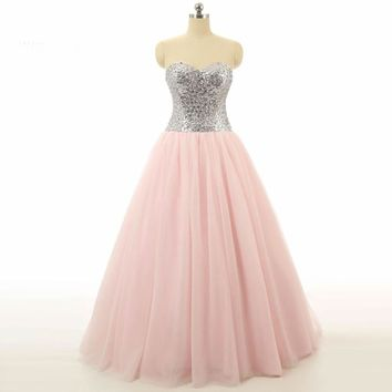 Beaded Sweetheart Long Pink Dresses Back Bow Formal Party Dress