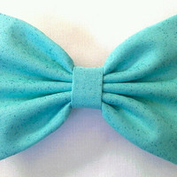 aquamarine aqua with sparkles mint green hair bow by sillydolls