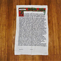 """Vintage 1970s Cotton and Linen Tea Towel """"Desiderata"""" Poem by Max Ehrmann in Perfect Condition / Inspirational Poem / Retro Kitchen Cloth"""