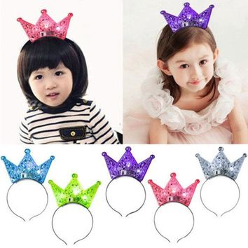 Flashing Hollow Out Diadem Crown Hair Ripe Children Princess Birthday Christmas Festival Decoration