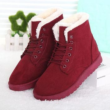 Lace Up Plush Winter Boots