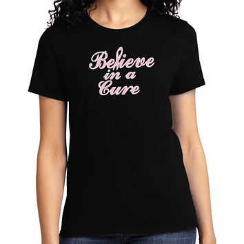 Ladies Breast Cancer T-shirt Believe in a Cure Tee