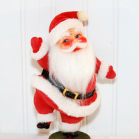 Vintage Standing Santa Claus (c.1950's?) Rosy Cheeks, Red Flocked Suit, Plastic Santa Face, Vintage Christmas Collectible, Gift Idea