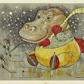 Hippo Mouse Plays Hockey, Vintage Postcard Russian artwork A. Golubev 1966