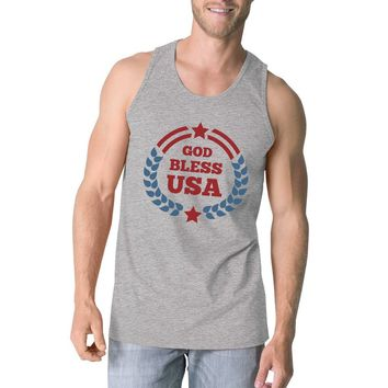God Bless USA Mens Grey Cotton Tank Top Independence Day Gift Idea