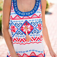 White Tribal Print Tank Top