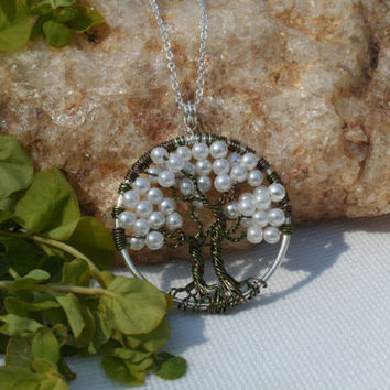 Twin Tree Of Life Necklace Glass Pearl Pendant On Silver Chain Wire Wrapped Gem Tree Jewelry June Birthstone Jewelry