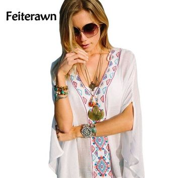 DCCKUH3 Feiterawn 2017 Batwing Sleeves Loose Fit Tunic Beach Dress Embroidered Sexy V Neck Flowy White Beach Cover Up Kaftan DL42167