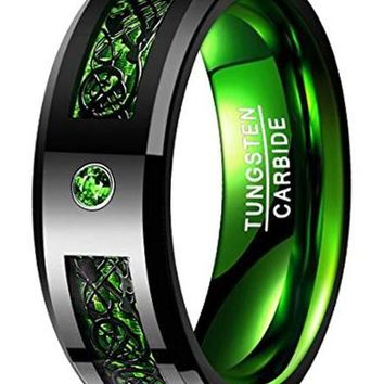 CERTIFIED 8mm Tungsten Carbide Wedding Band Ring Celtic Dragon Green Carbon Fiber
