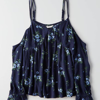 AEO Printed Cold Shoulder Top , Navy
