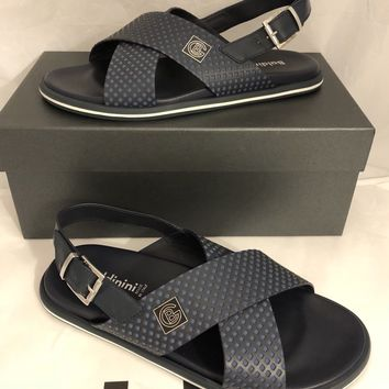 NIB Baldinini Men's Leather Sandals Black 9 US (42 Eu) 795947 Made in Italy