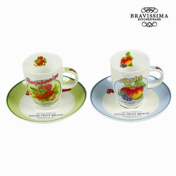 Set of 2 mug with plate and box fruits - Kitchen's Deco Collection by Bravissima Kitchen