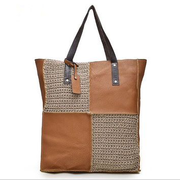 Handmade Brown leather tote bag Color Blocking with linen, Leather bucket bag, Vintage Brown Tote, brushed sturdy leather bag