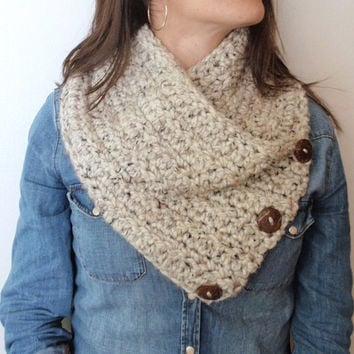 Neck Warmer Scarf Chunky OATMEAL Crochet Winter Scarf Acrylic Lamb's Wool 3 Button Coconut Buttons Gift for Fall Winter Gift Guide 2013 2014