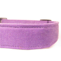 Dog Collar - MADE to ORDER Lovely GLITTER Lavender - Adjustable Cotton Dog Collar