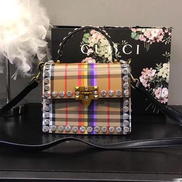 Burberry Rainbow Vintage Check With Crystals Tote Crossbody Shoulder Bag