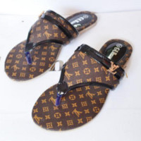 LV Women Trending  Fashion Casual Logo Sandal Slipper Shoes Coffee G