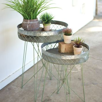 Set Of 2 Galvanized & Antique Green Wire Side Table