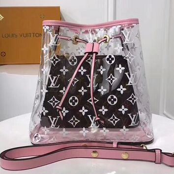 LV Transparent Bag  Louis Vuitton jelly bag crystal Bag Shoulder Bag Two Piece Set B-3A-XNRSSNB Pink