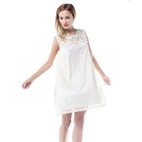 Lace Dress Solid Summer Dress For Women Sleeveless Casual