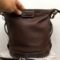 Gianfranco Ferre Brown Leather Bag, Crossbody Purse, Chocolate Shoulder Bag, Bucket Bag, Designer Bag, GFF Messenger, Postman Bag, Satchel