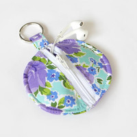 Floral Earbud Holder / Coin Pouch / Floral Coin Purse / Purple / Earbud Case / Ear Bud Holder / Back to School / Small Circle Pouch