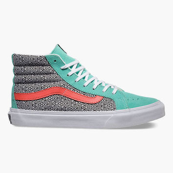 Vans Geometric Sk8-Hi Slim Womens Shoes Cockatoo/Hot Coral  In Sizes