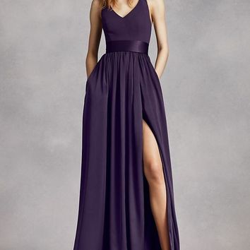 V Neck Halter Maxi Length Gown With Middle Split and Sash