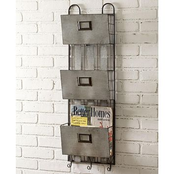 3 Pocket Metal Wall Organizer