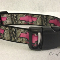 Pink Chevy Girl with Camo Dog Collar