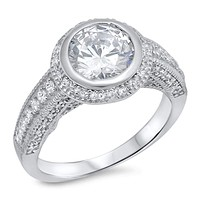 Sterling Silver Bezel Set Cubic Zirconia With Halo and Migrain Trim Engagement Ring