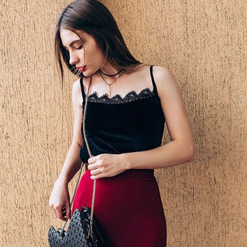 Fashion  Solid Color Velvet Stitching Lace Sleeveless Strap Vest Tops