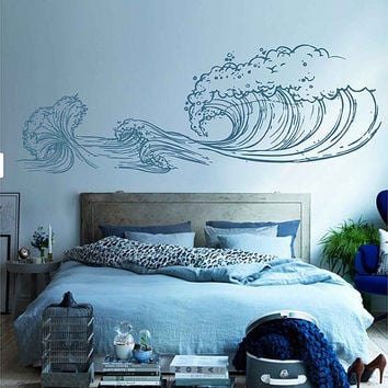 wave Wall Decals Ocean Wave Wall Decals Ocean beach Waves Wall Stickers Ocean Wall Decals sea Wall Decal Stickers for Bedrooms kik3414
