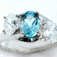 2 Carat Genuine Blue Topaz With Zirconia Ring .925 Sterling Silver Rhodium Finish White Gold Quality