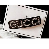 Gucci Stylish Girls Women Chic Letter Diamond Hairpin Spring Clip Accessories Black