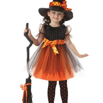 Halloween Costume for Kids Girl Children- Little Witches Cosplay