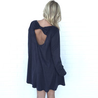 Bow Down Shift Dress In Charcoal