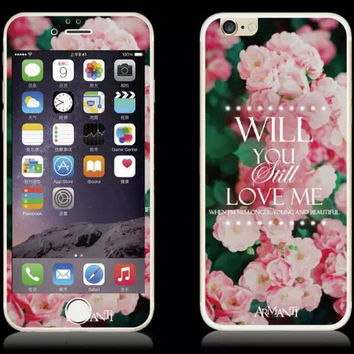 Rose Luminous iPhone 6s 6plus Toughened Glass Screen Protector Gift