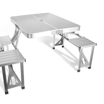 outdoor furniture portable aluminium alloy fold picnic desk with four seats hot sale occasional table beach chair, leisure chair