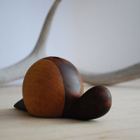 Wooden snail pencil holder