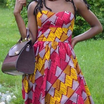 Yellow-Red Floral Bandeau African Print Off Shoulder Puffy Homecoming Party Cute Mini Dress