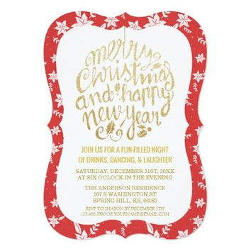 Elegant Red Gold Cheers New Year Christmas Party Card