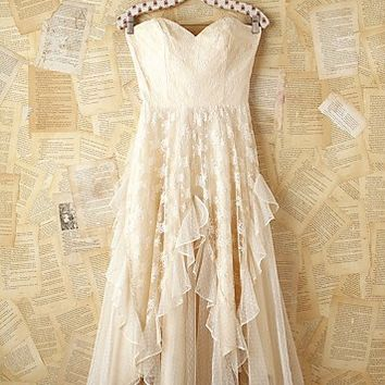 Free People Free People Vintage White Lace Strapless Dress