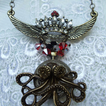 Octopus pocket watch pendant steampunk by Charsfavoritethings