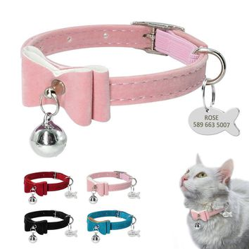 Pink Blue Bell Personalized Kitten Cat Collar