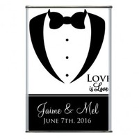 Tux Love Personalized Wedding Hot Cocoa Tins, Same Sex Marriage Wedding Favor, Timeless Theme Wedding Favor