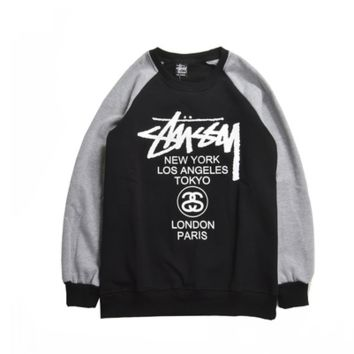 Stussy Womens Black & Gray Long Sleeve Sweater Pullovers