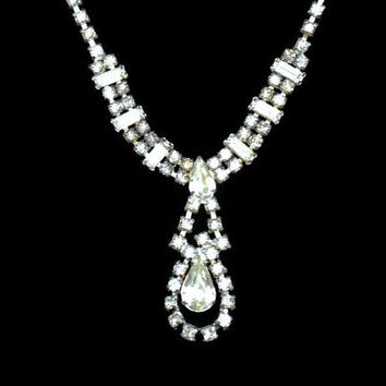 Rhinestone Tear Drop Statement Necklace, Prom, Bridal Jewelry