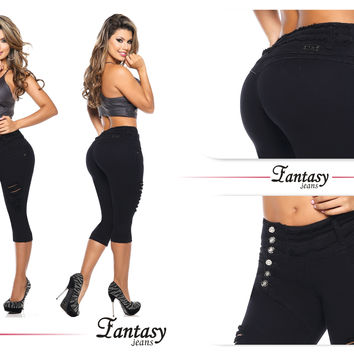 Black 100%  Authentic Colombian Push Up Capris 11479  by Fantasy