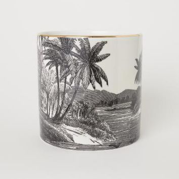 Porcelain Plant Pot - Black/patterned - Home All | H&M US